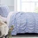 Benjara BM219399 Fabric King Size Quilt Set with Pleated and Ruffled Details, Blue