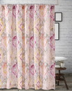 Benjara BM219403 Fabric Shower Curtain with Medallion Pattern and Button Holes, Multicolor