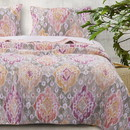 Benjara BM219408 Fabric Reversible Queen Size Quilt Set with Medallion Pattern, Multicolor