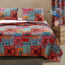 Benjara BM219417 Fabric Reversible Queen Size Quilt Set with Floral Pattern, Multicolor