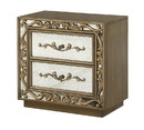 Benjara BM220331 2 Drawer Wooden Nightstand with Floral Metal Pulls and Scrollwork, Gold