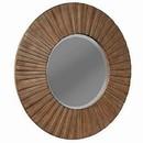 Benjara BM220483 Transitional Sunburst Round Mirror with Wooden Frame, Brown
