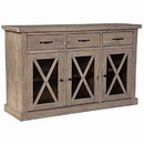 Benjara BM220512 Wooden Sideboard with 3 Drawers and X Front Cabinets, Weathered Oak
