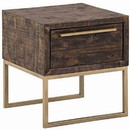 Benjara BM220531 Wooden Lamp Table with 1 Storage Drawer and Metal Base, Brown and Gold