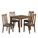 Benjara BM220903 Square Dining Table with Slatted Back Faux leather Chairs, Set of 5, Brown