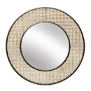 Benjara BM220950 Metal Frame Wicker Round Mirror with Wooden Backing, Brown and Black
