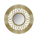 Benjara BM221011 Contemporary Mirror with Woven Like Round Metal Frame, Gold and Silver