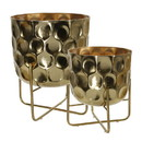 Benjara BM221118 Metal Planter with Hammered Details and X shape Base, Seat of 2, Gold