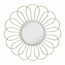 Benjara BM221142 Metal Wall Decor with Round Mirror and Overlapped Flower Petals, Gold