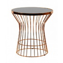 Benjara BM221185 Glass Top End Table with Cage Metal Round Base, Gold and Black