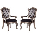 Benjara BM221491 Wooden Arm Chair with Button Tufted Padded Backrest, Set of 2, Silver and Gray - BM221491