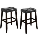 Benjara BM221551 Wooden Stool with Saddle Seat and Button Tufting, Set of 2, Black and Brown