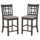 Benjara BM221578 Wooden Dining Side Chairs with Open Grid Pattern, Set of 2, Gray and Brown