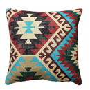 Benjara BM221648 18 x 18 Handwoven Textured Cotton Accent Pillow with Tribal Print, Multicolor