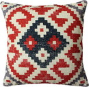 Benjara BM221649 18 x 18 Vintage Kilim Print Cotton Accent Pillow, Red and White