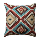 Benjara BM221650 18 x 18 Inches Kilim Printed Cotton Accent Pillow, Red and Blue