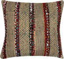 Benjara BM221655 20 x 20 Inches Handwoven Jute Accent Pillow with Block Print, Brown and Red