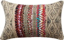 Benjara BM221656 24 x 16 Inches Handwoven Jute Accent Pillow with Block Print, Brown and Red