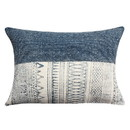 Benjara BM221657 24 x 16 Handwoven Cotton Accent Pillow with Block Print, Gray and White
