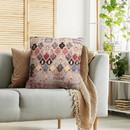 Benjara BM221660 18 x 18 Handwoven Cotton Accent Pillow with Quatrefoil Print, Multicolor