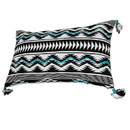 Benjara BM221664 20 x 12 Handwoven Cotton Accent Pillow with Chevron Print, White and Black
