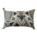 Benjara BM221668 20 x 12 Handwoven Cotton Accent Pillow with Abstract Print, White and Blue