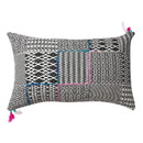 Benjara BM221669 20 x 12 Handwoven Cotton Accent Pillow with Jacquard Print, Black and Gray