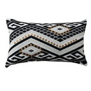 Benjara BM221673 20 x 12 Sequin Embellished Handwoven Cotton Accent Pillow, White and Black