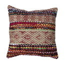 Benjara BM221698 20 x 20 Handwoven Jute Accent Pillow with Block Print, Brown and Red