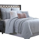 Benjara BM222753 Valletta 8 Piece Queen Comforter Set with Embroidery and Pleats The Urban Port, Gray
