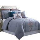 Benjara BM222760 Odense 8 Piece King Comforter Set with Floral Embroidery The Urban Port, Multicolor