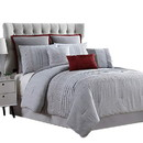 Benjara BM222763 Maastricht 8 Piece King Comforter Set with Embroidery and Pleats The Urban Port, Gray
