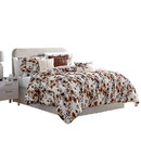 Benjara BM222812 Lyon 6 Piece Floral Queen Comforter Set with Shirring The Urban Port, Brown and White