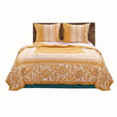 Benjara BM223384 Fabric Queen Size Quilt Set with Paisley and Floral Motif, White and Orange - BM223384