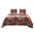 Benjara BM223397 3 Piece Queen Size Cotton Quilt Set with Jacobean Print, Multicolor - BM223397