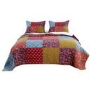 Benjara BM223405 3 Piece Cotton King Size Quilt Set with Patchwork, Multicolor - BM223405