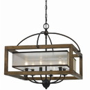Benjara BM223594 6 Bulb Square Chandelier with Wooden Frame and Organza Striped Shade, Brown