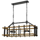 Benjara BM224773 Rectangular Wooden Frame Chandelier with Metal Slats, Black and Brown