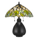Benjara BM224791 2 Bulb Tiffany Table Lamp with Leaf Design Glass Shade, Multicolor