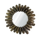 Benjara BM225496 Round Wooden Shoe Mold Accent Wall Mirror, Natural Brown
