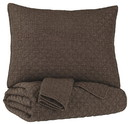 Benjara BM226484 2 Piece Diamond Quilted Polyester Twin Coverlet Set, Brown