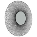 Benjara BM226519 Metal Round Shaped Accent Mirror with Sunburst Design, Black and Silver