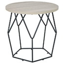 Benjara BM226537 Wooden Top Round End Table with Open Geometric Base, Gray and Black