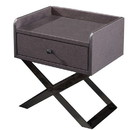 Benjara BM226956 1 Drawer Wooden Nightstand with X Shaped Metal Base, Gray and Chrome
