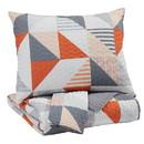 Benjara BM227234 3 Piece Fabric Full Coverlet Set with Geometric Print, Gray and Orange