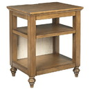 Benjara BM227366 Wooden Accent Table with 2 Open Shelves and 2 USB Ports, Brown
