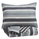 Benjara BM227499 3 Piece Polyester Full Coverlet Set with Block Stripe Print, Gray and Cream