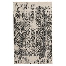 Benjara BM227506 Machine Woven Fabric Rug with Abstract Pattern, Medium, Black and Off White