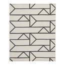 Benjara BM227532 Rectangular Polypropylene Rug with Geometric Pattern, Medium, Beige and Black
