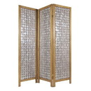 Benjara BM228613 3 Panel Wooden Screen with Pearl Motif Accent, Brown and Silver - BM228613